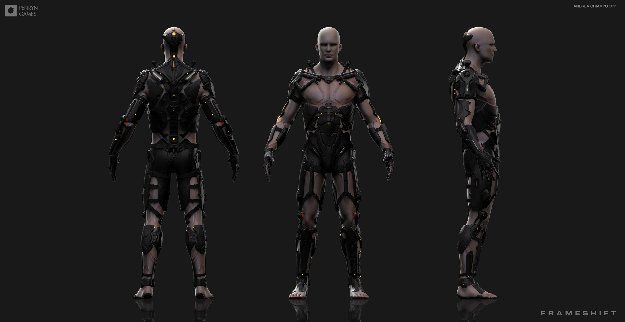 A full cybernetic exoskeleton created by Frameshift Technologies for military application.