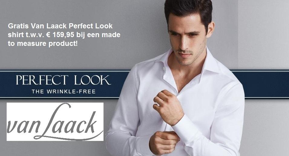 Bij elk made to measure kostuum een GRATIS Van Laack Perfect Look shirt t.w.v. € 159,95 cadeau. Kiest u voor een gilet, colbert of pantalon op maat ontvangt u 50% korting op dit maat overhemd.