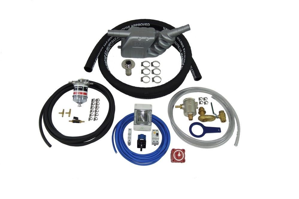 - Installation kitsOur installation kit contains the same high quality parts we use in our own installations and is the most comprehensive kit available on the market. Each sub-kit is boxed separately to make it easy for you or your installer to plan and carry out your installation efficiently. Please note that we can modify any kit to suit a particular requirement whether it is to accommodate equipment already present or it is to comply with regulations such as MCA coding. To comply with Inland Waterways Boat Safety Scheme, we can provide fuel filters with metal bowls.