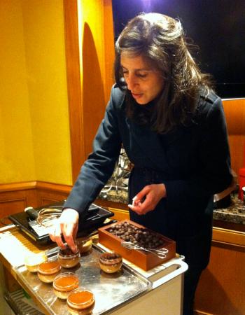 Getting creative with some chocolate mousse at La Maison du Chocolat - Paris.