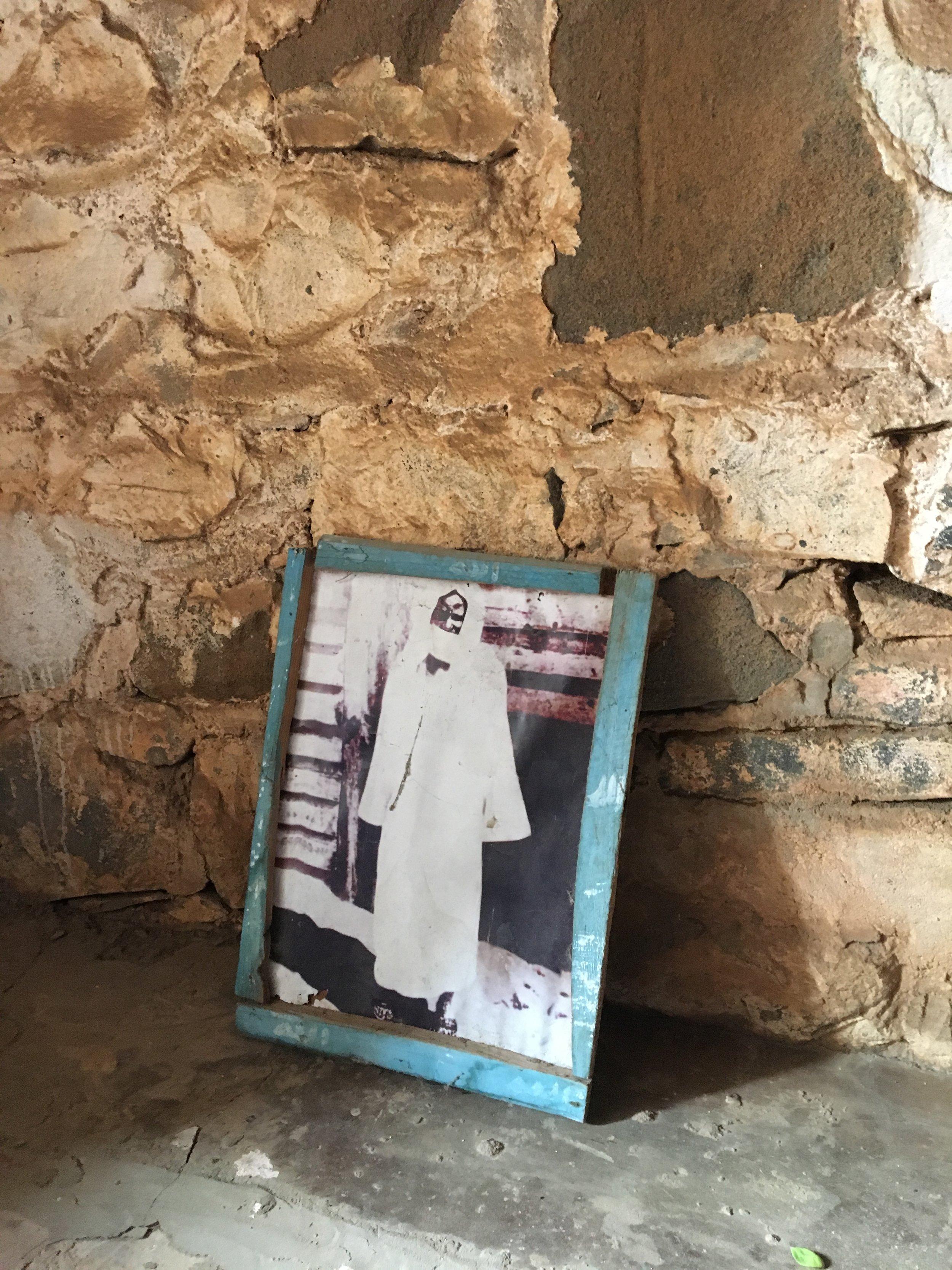 Afbeelding van Cheikh Ahmadou Bamba (1853 - 1927) die in Senegal als een profeet wordt vereerd.