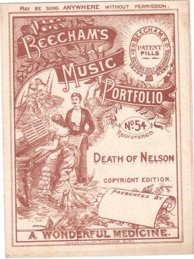 Beecham's Music Portfolio No. 54 , 'Death of Nelson', 14.3x19.2 cms. 4pp. [1880s]
