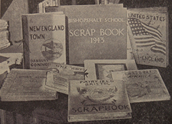 Scrap book covers by U.S. and British schools. Part of the Books Across the Sea scrapbook exchange scheme, from a display in 1944. (Cadbury Research Library, University of Birmingham