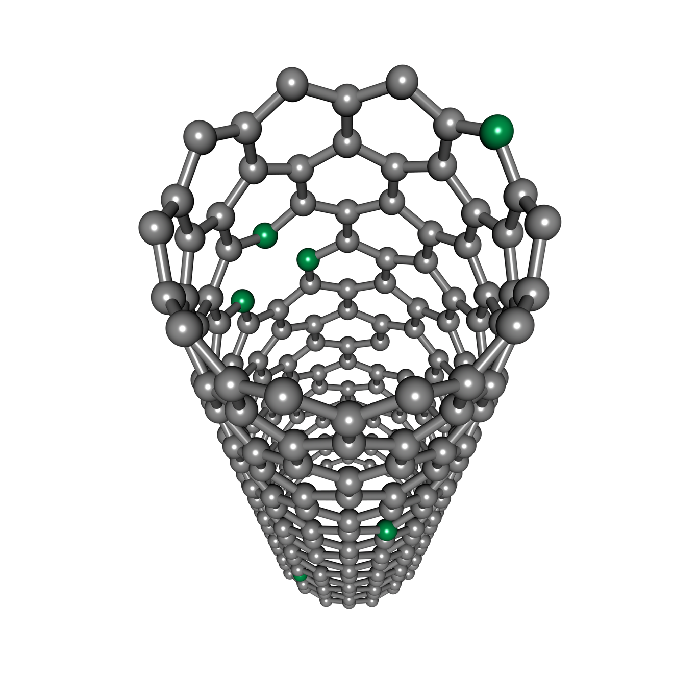An atomistic model of a single-walled carbon nanotube doped with nitrogen heteroatoms (shown in green). Depending on their covalent radius and valence electronic structure, the dopants can bond in different configurations. These can have quite different effects on the properties of the host material, making the identification of bonding one of the crucial research questions.