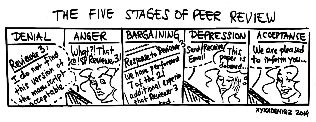 """"""" THE FIVE STAGES OF PEER REVIEW """" comic by xykademiqz."""