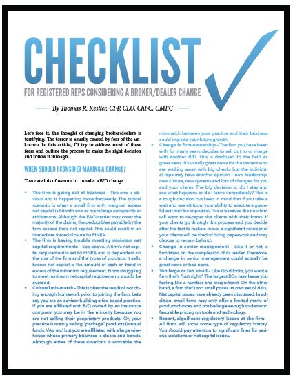 Checklist For Registered Reps Considering a Broker/Dealer Change