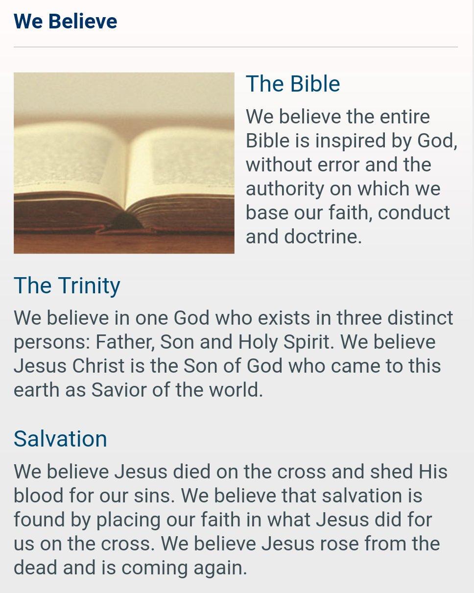 Screenshot of a popular mega-church's statement of faith