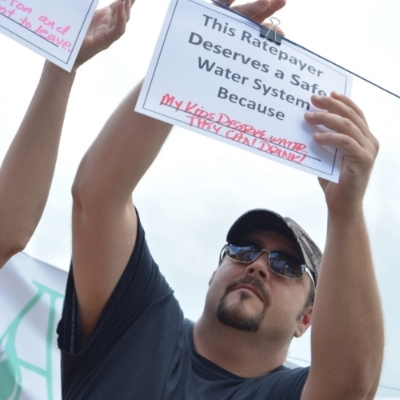 Ratepayer taking action for safe water outside of WV American Water's treatment plant