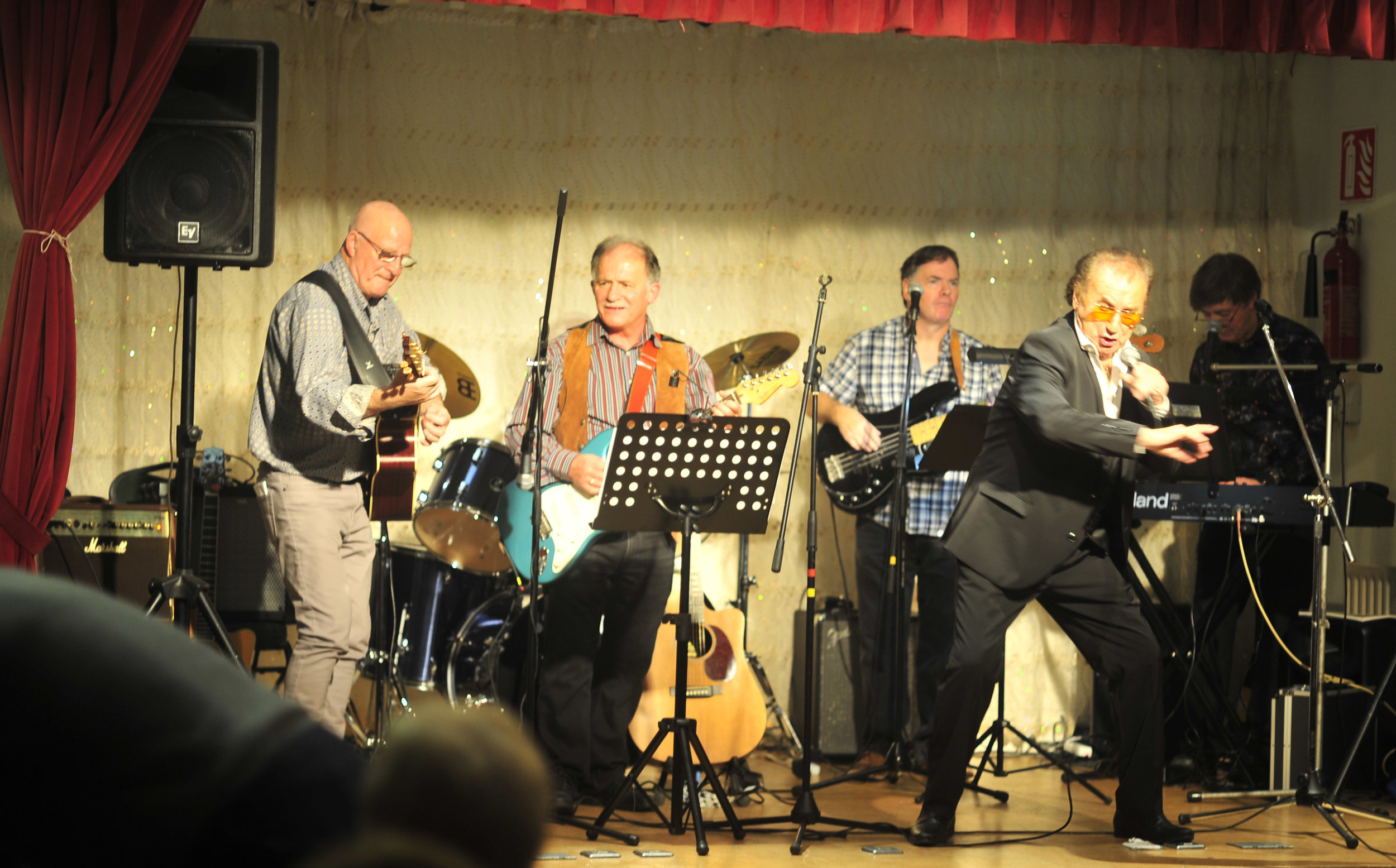 """Harry Shiels and the band in """"swinging"""" form"""