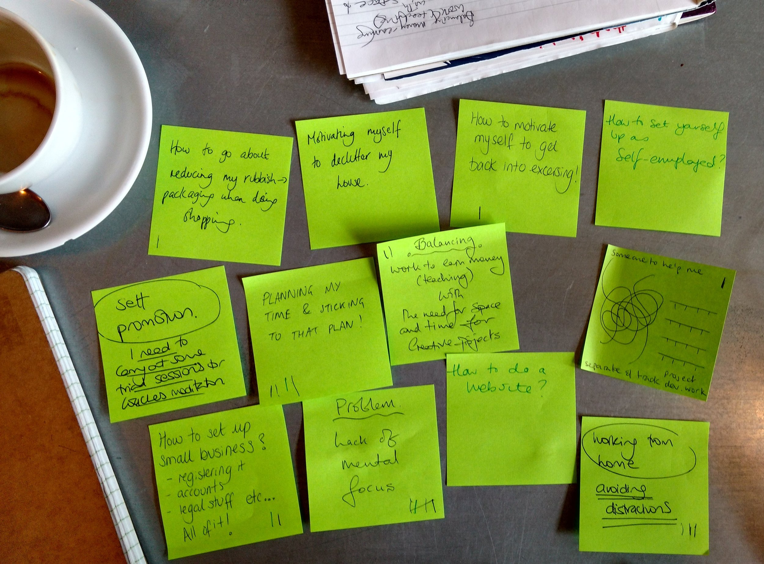 Some of the practical helps requests at one of our coffees.