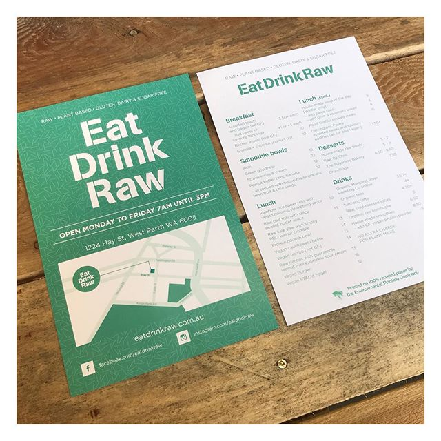 So many amazing businesses are giving us great healthy choices, for eating/drinking and living in general! Show your support to the small, local, environmentally conscious businesses 🌳 check out our client @eatdrinkraw  #recycle #printing #perthprinting #perthprint #perthbusiness #perthlocal #recycled #environmentallyfriendly #ecoprint #ecoprinting #ecofriendly #recycledpaper #recycledprinting #australianprinting #thinkgreen #design #graphicdesign #perthgraphicdesign #businesscards #greenprint #perthsignage #smallbusiness #supportsmallbusiness #familybusiness #ethicalbusiness #greenprinting #environment #raweating #eatdrinkraw