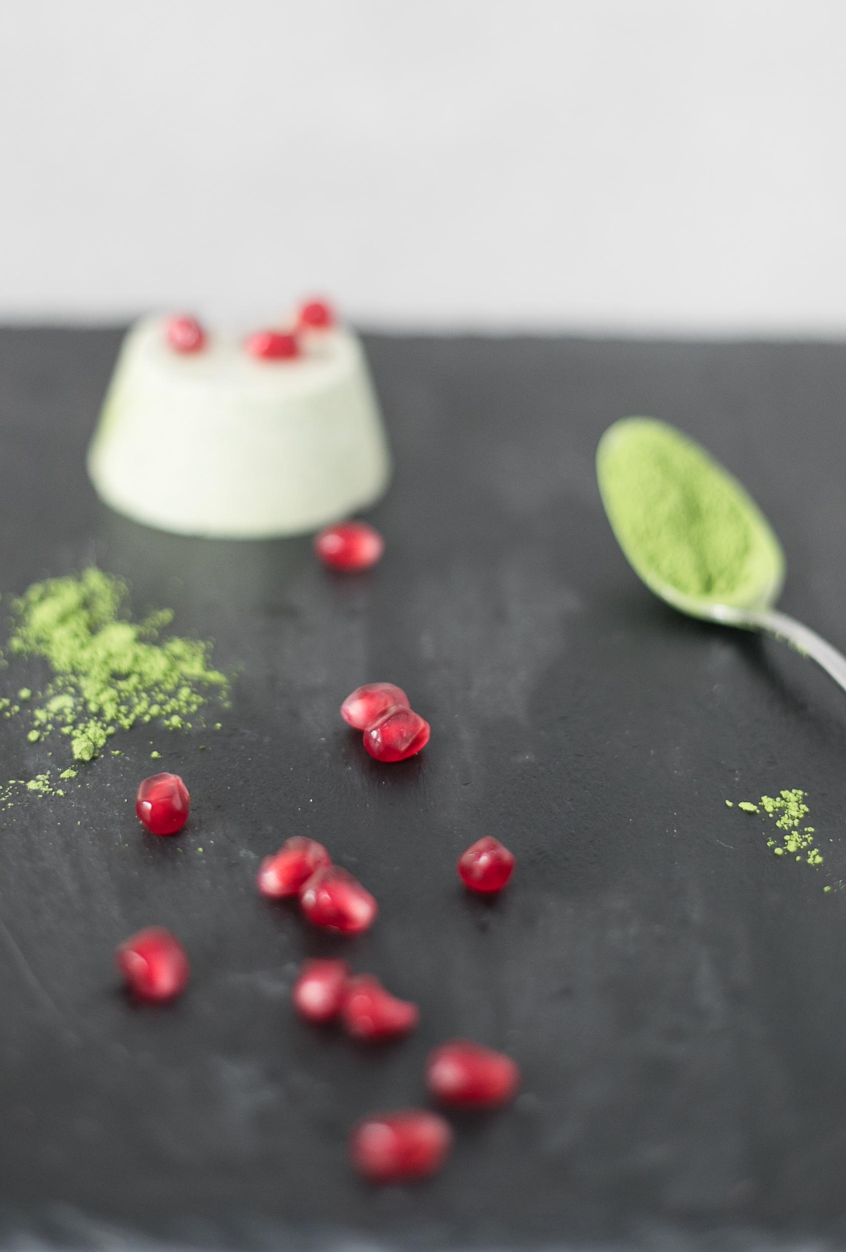 Chloe Edwards food photography Bristol matcha green tea panna cotta with pomegranates heapwell superfoods 2-.jpg