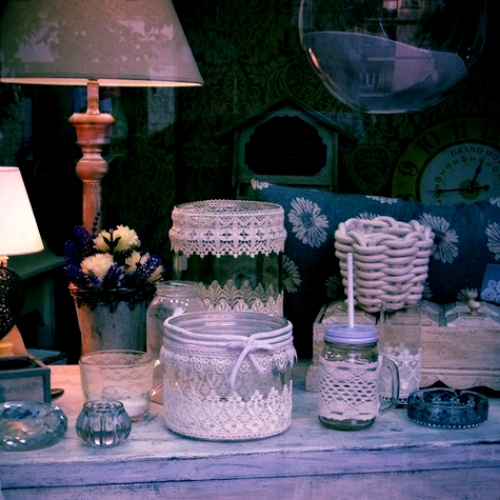 Lace and creative things in a shop in Roma, Italy - April 2016