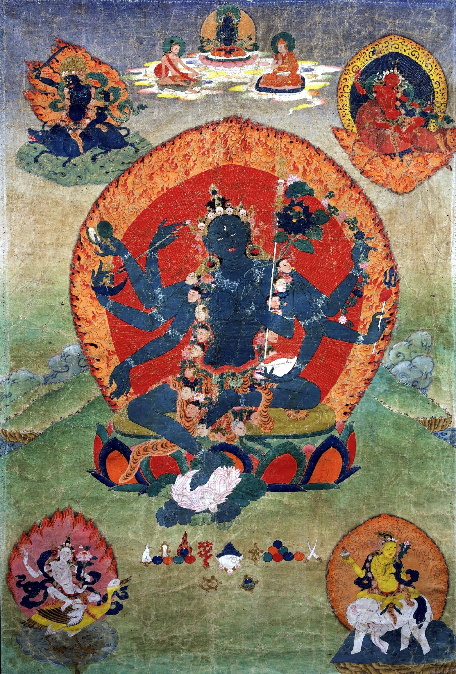 18th century Eastern Tibeten Thanka, with the Green Tara (Samaya Tara Yogini) in the center and the Blue, Red, White and Yellow Taras in the corners, Rubin Museum of Art