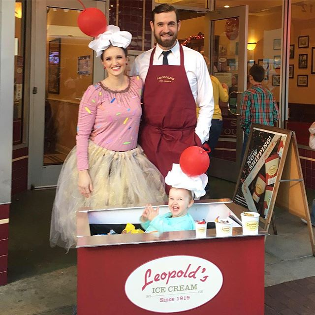 Meet the @leopoldsicecream family!  Savannah has a shop called Leopold's that has been around forever and is quite famous. I had the idea of making Anniston into ice cream and wanted a way to incorporate our beach cart for her to ride in, so I turned it into one of their mobile carts they use for special events! @leopoldsicecream liked the idea and was helpful enough to lend us the apron for Kory and add a few cups to the cart.  We took a few pics at the shop and did a little trick or treating in Ardsley Park.  Anniston passed out candy and we had a blast overall. It was definitely a hit!  Hope you all had a Happy Halloween 🎃