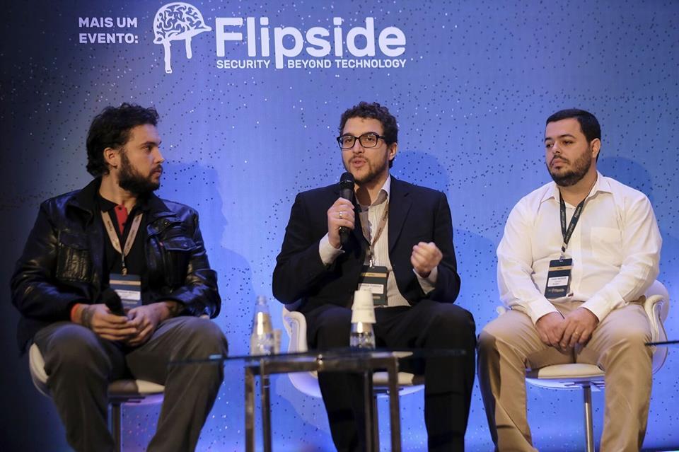 Mercês,Puodzius e Marques, durante palestra sobre WannaCry