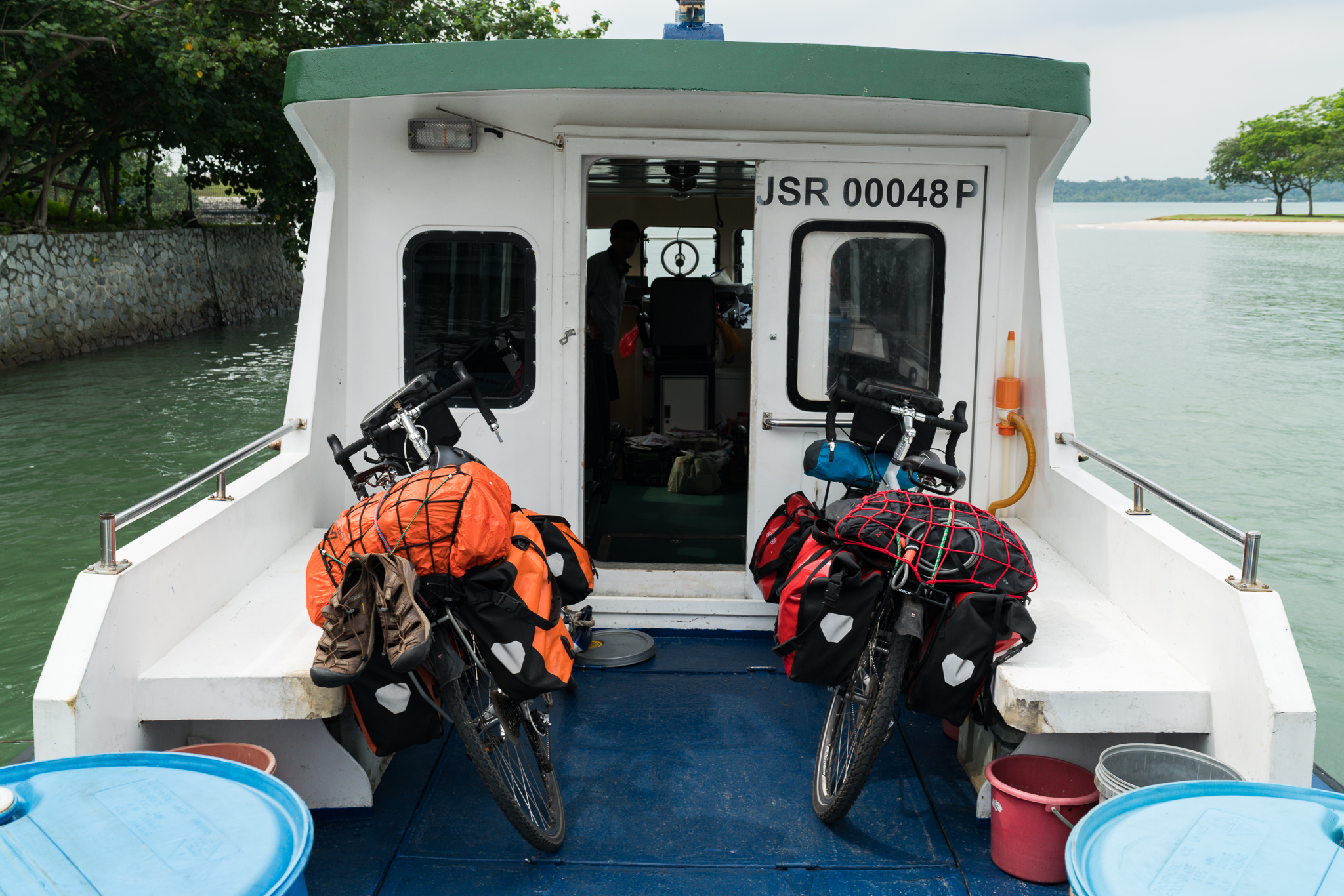 Bikes on the boat from Singapore to Malaysia!