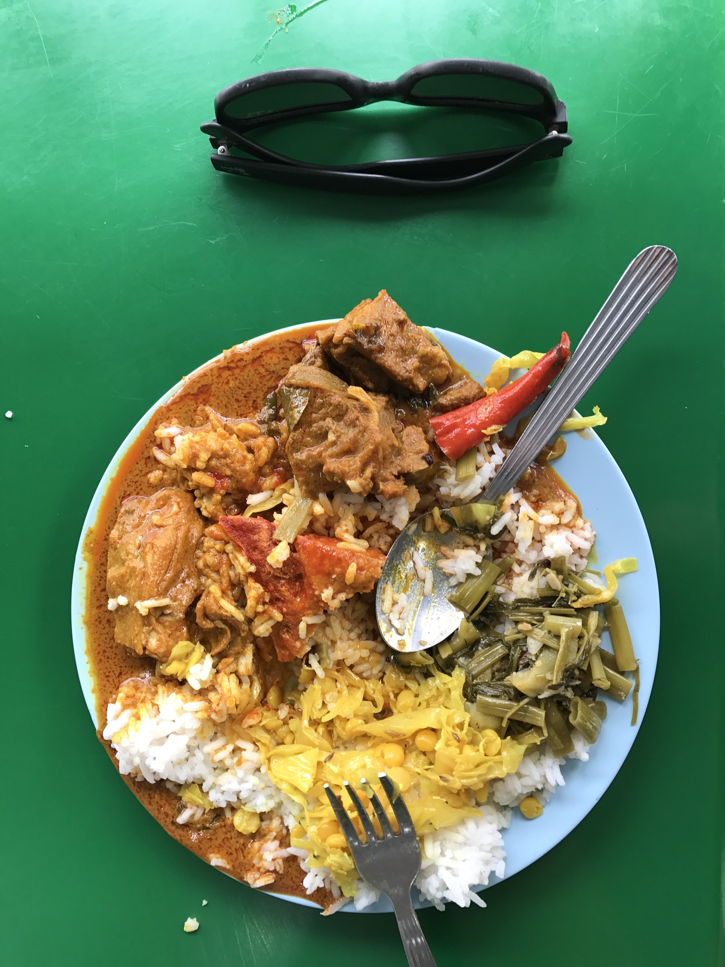 Typical lunches - buffets where we load up on rice, veggies, and meat curries. $1-2.