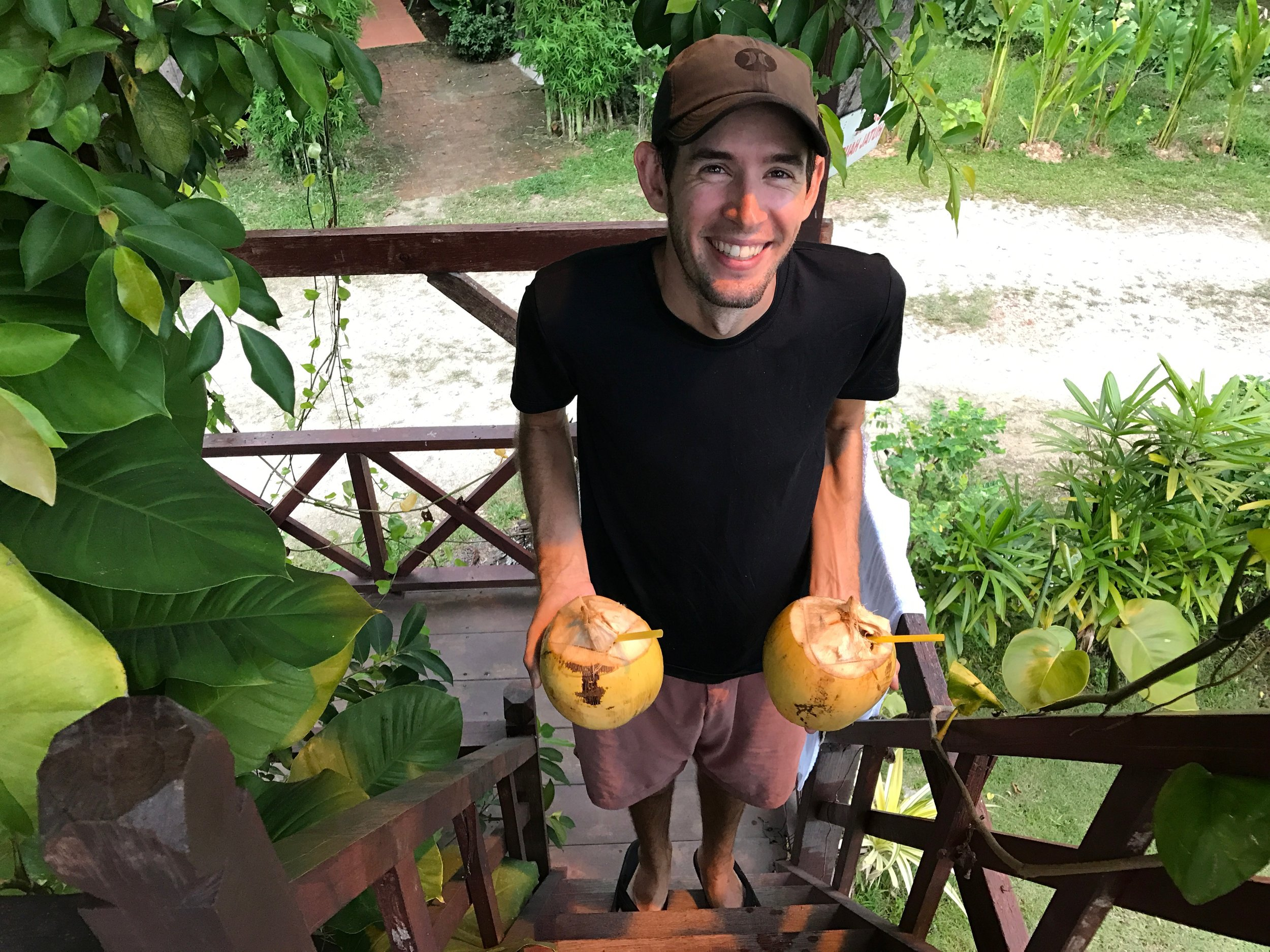 Fresh coconuts from our treehouse hosts!