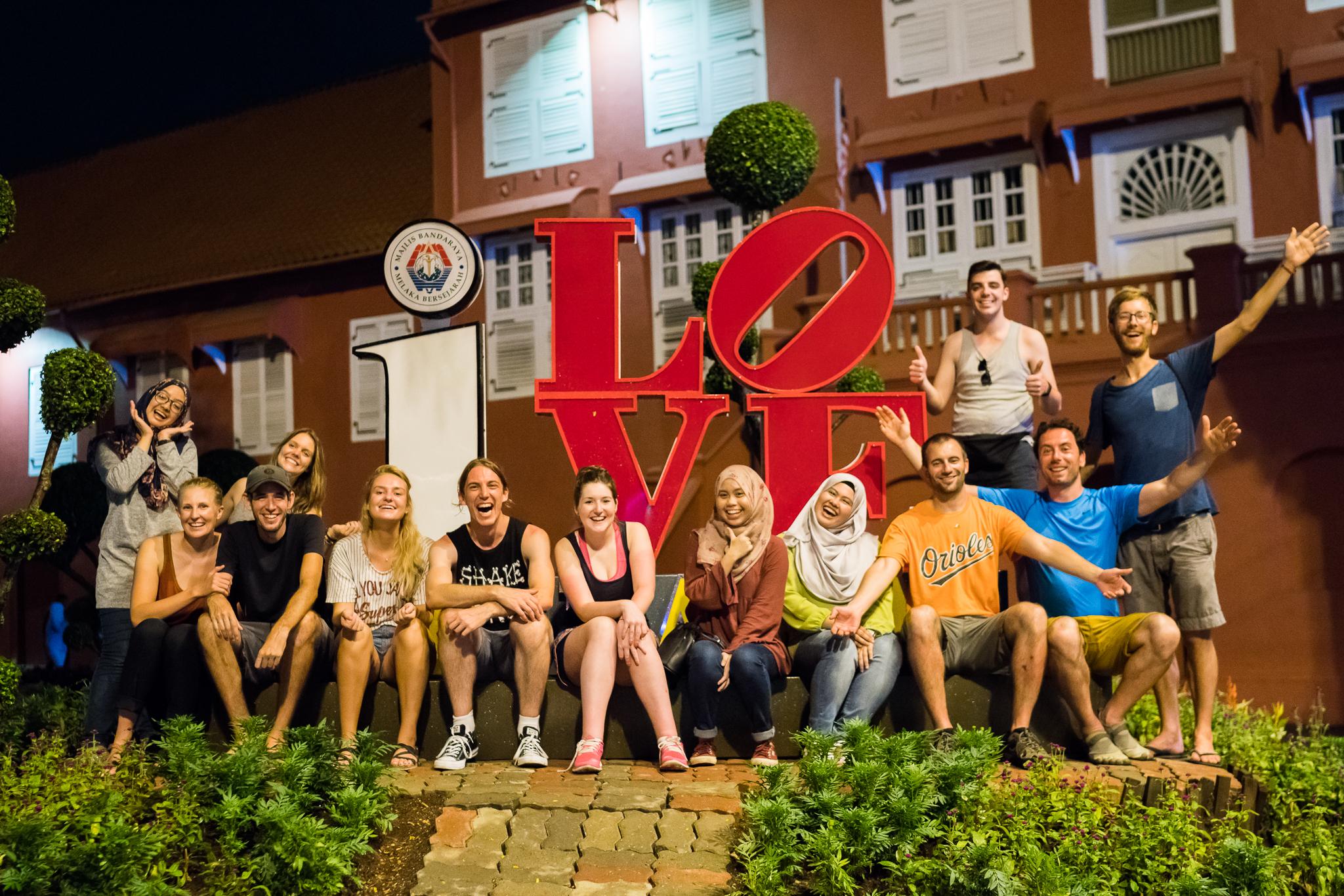 Group photo during our bike tour of Melaka.