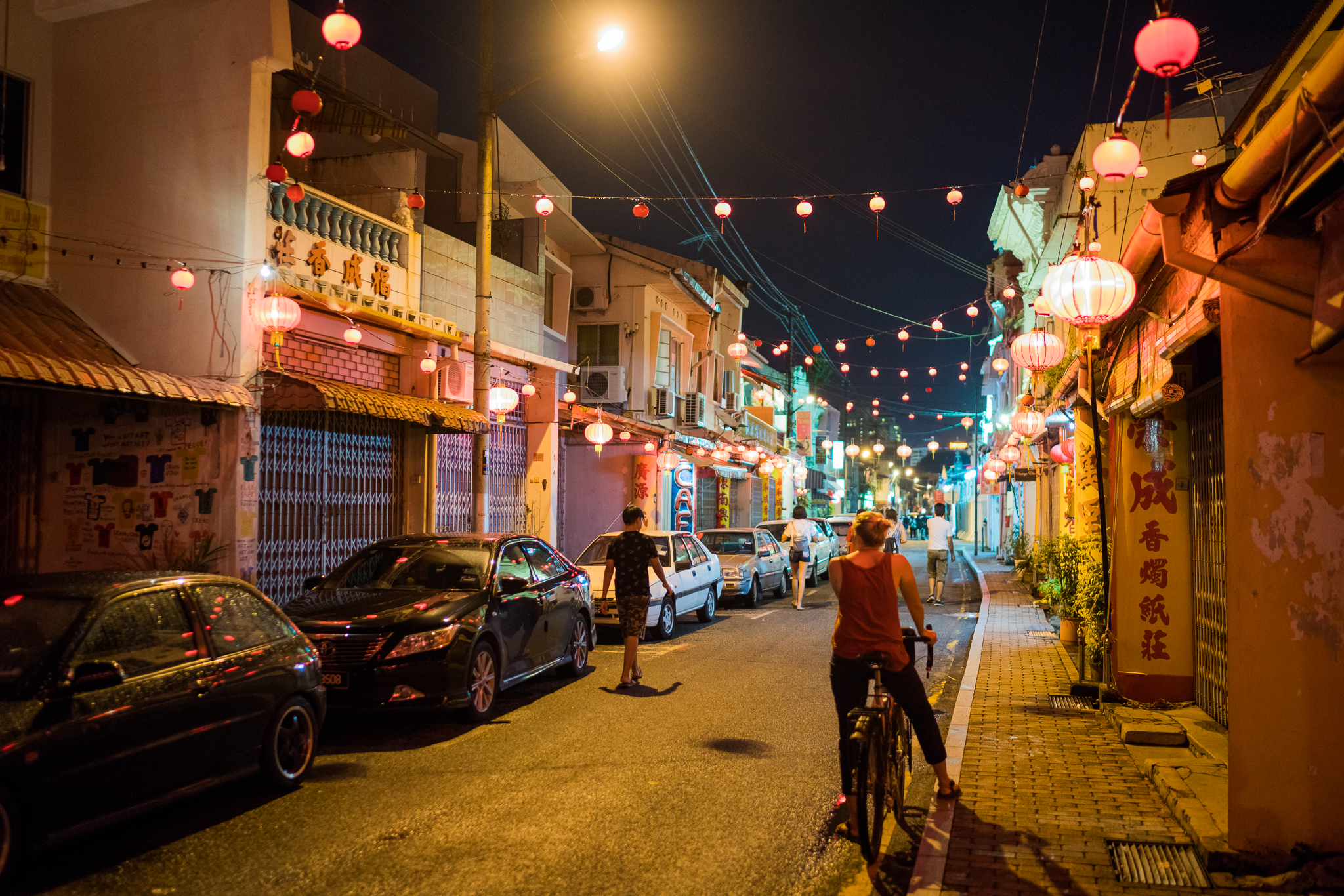 Marcy and I exploring Melaka at night on our bikes