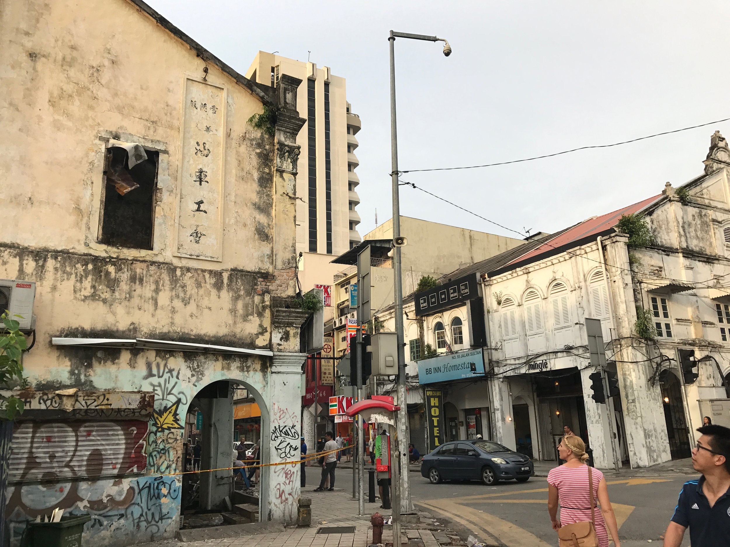The building on the left had it's insides completely destroyed by the fire. The corner building directly across the street is our hostel.