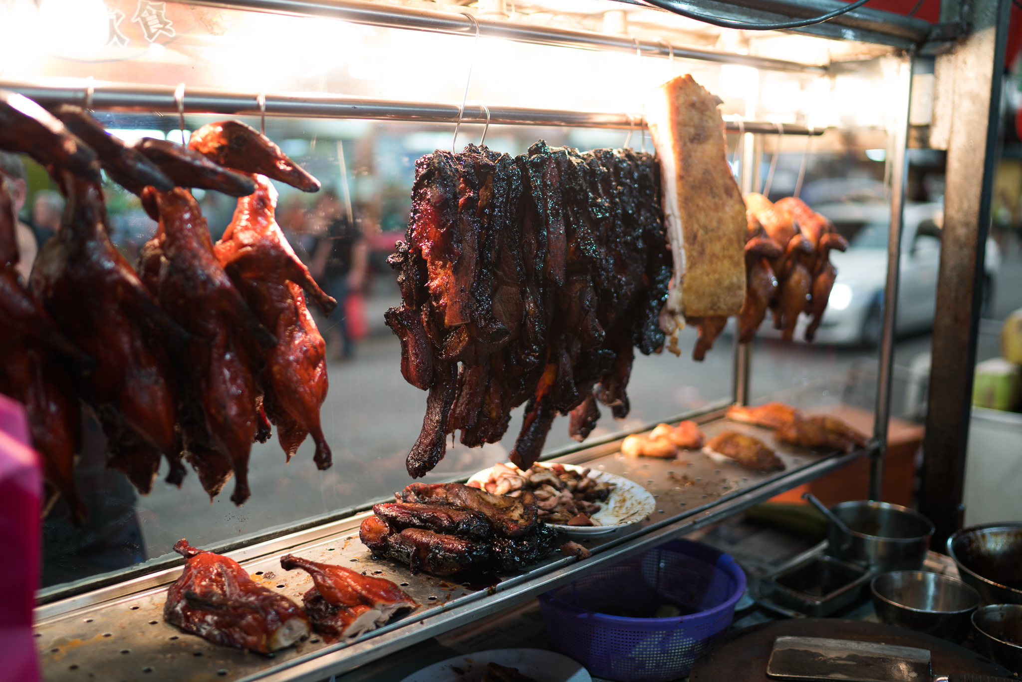 Bacon, duck, and pork belly at a street stall. Some of the best meat we've had in SE Asia.