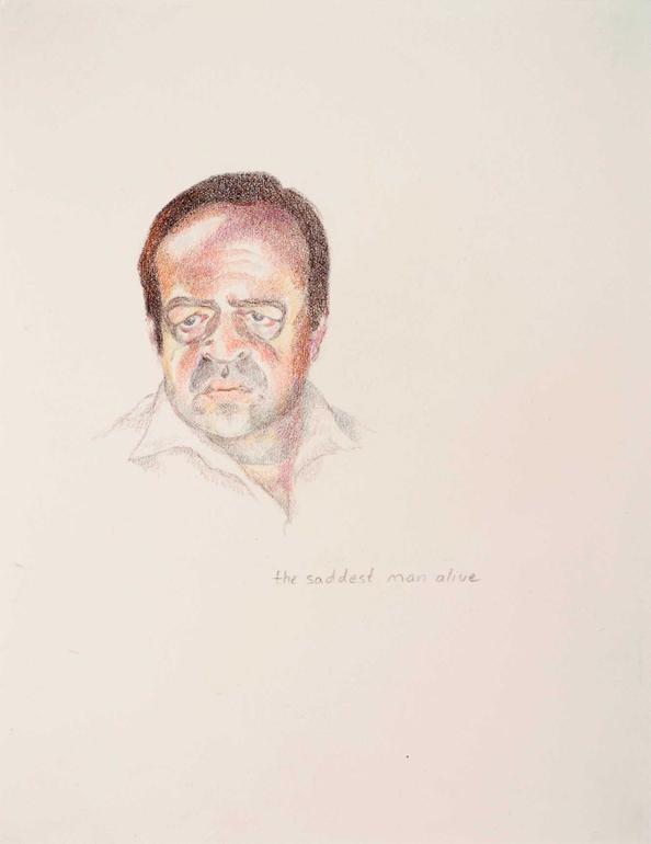 "The Saddest Man Alive , colored pencil, 2007, 7"" x 9"""