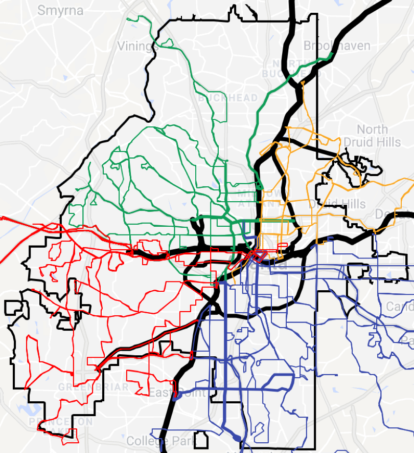 MARTA's bus routes with the new More MARTA routes