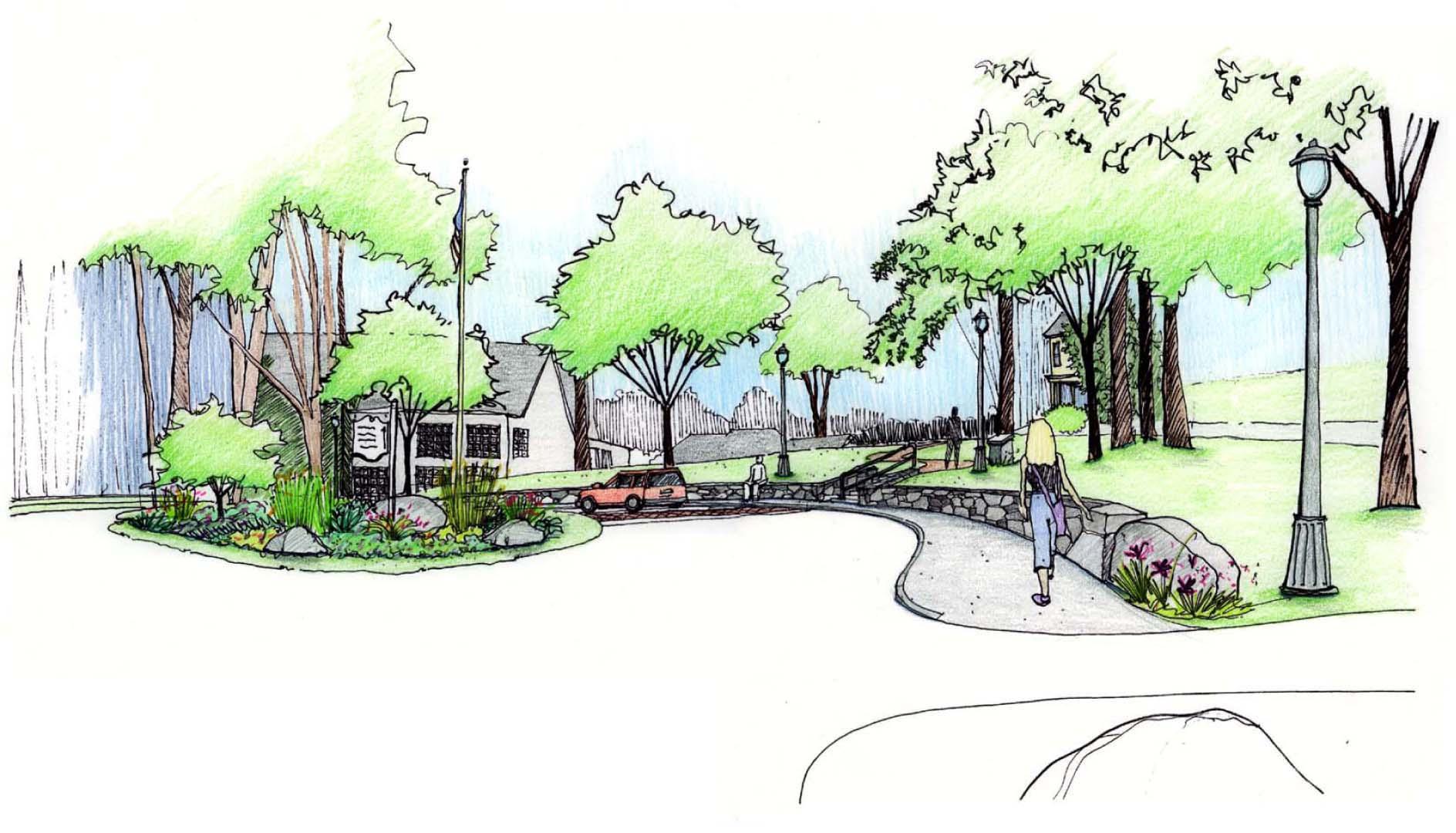 Main Entry Visitor Parking Landscape Sketch color.jpg