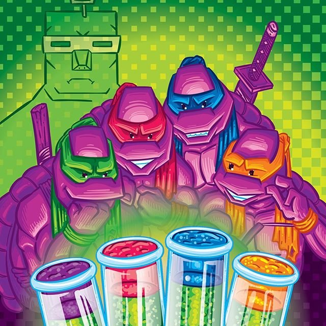 The next bit of BIT FACED, the Secret of the Booze!! Midori-spiked test tube jello shots with headband floaters pay homage to one of the greatest co-ops of all time, Turtles in Time! #💀�🎉 #bitfaced #cocktails #tmnt #retrovideogames