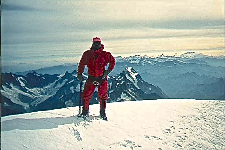 On the summit of Mont Blanc.