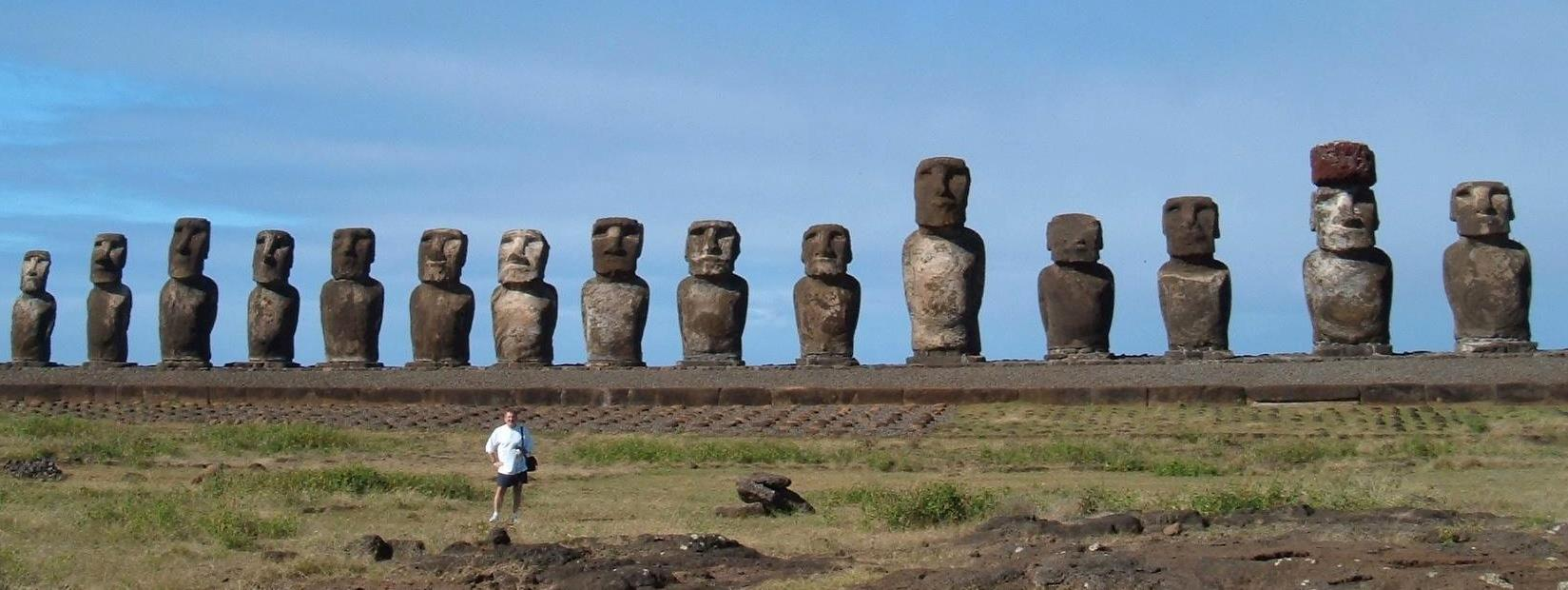 Among the moai on Isla de Pascua