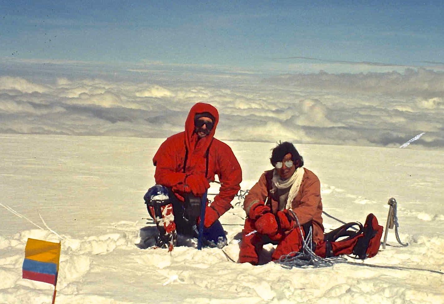 On the summit of Chimborazo with Ecuadorian guide Jorge Anhalzer.