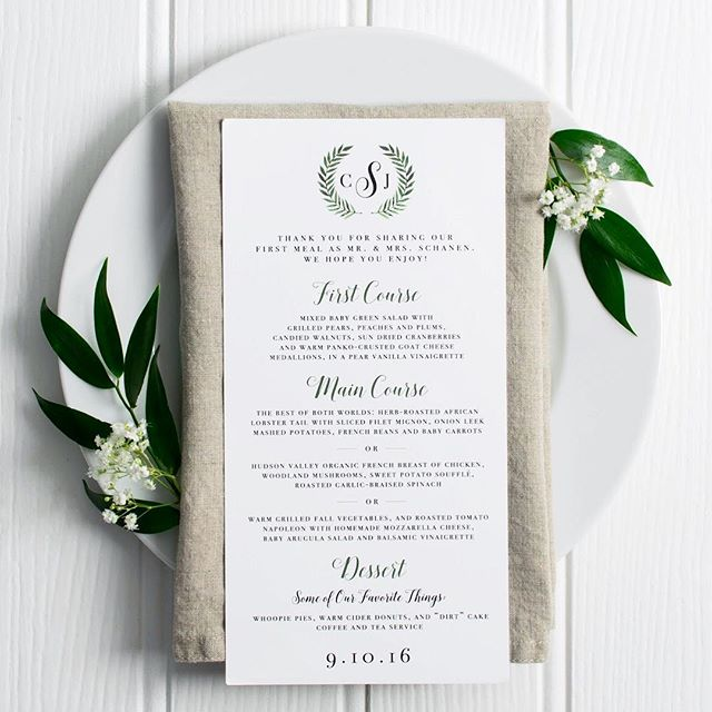 """I'll take 2 of everything, please!"" 🥗🥘🍰 Menu designed by #paragonpaperie #weddingstationery"