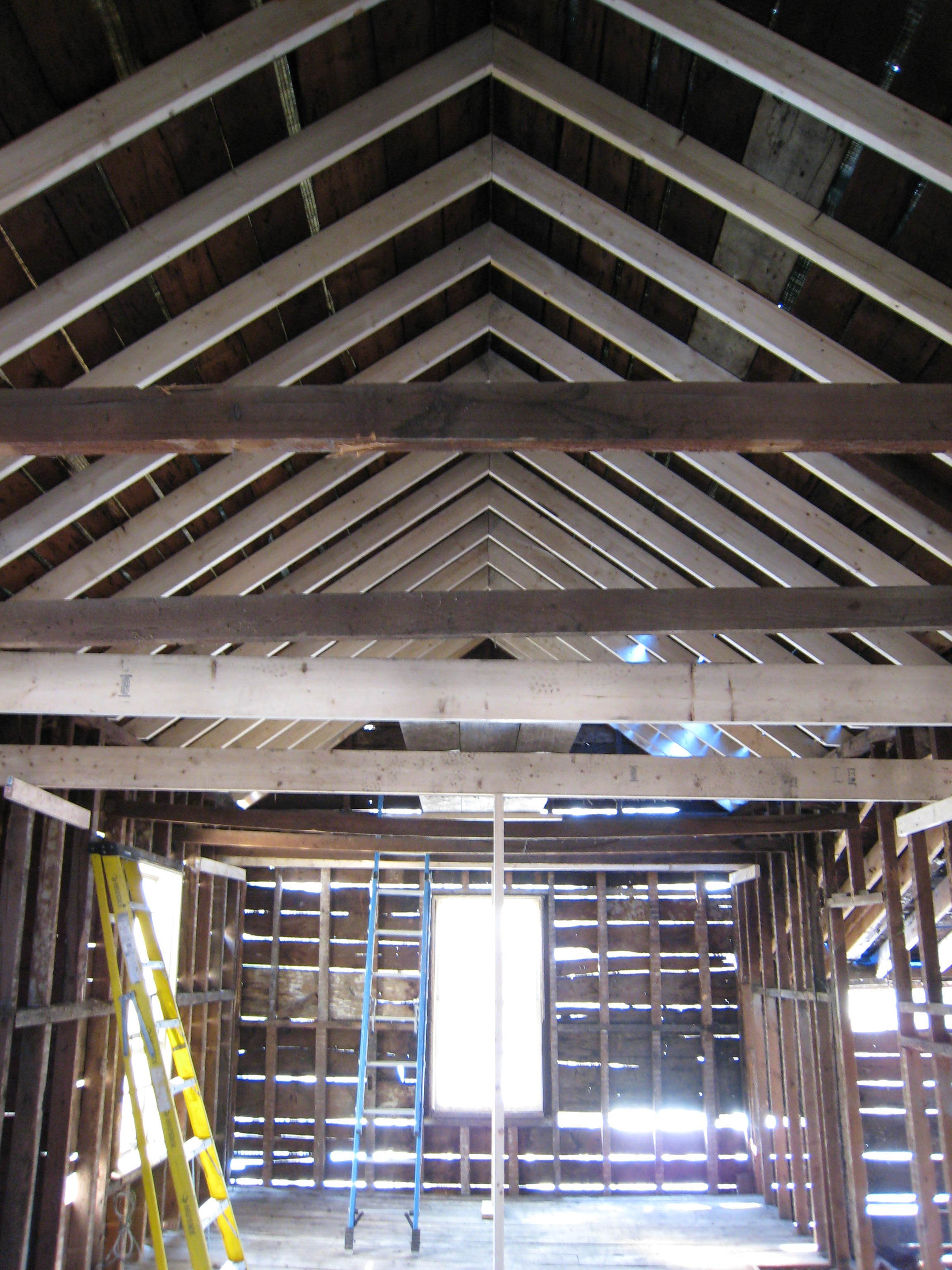 New framing was part of the scope, after the existing was salvaged as much as possible.