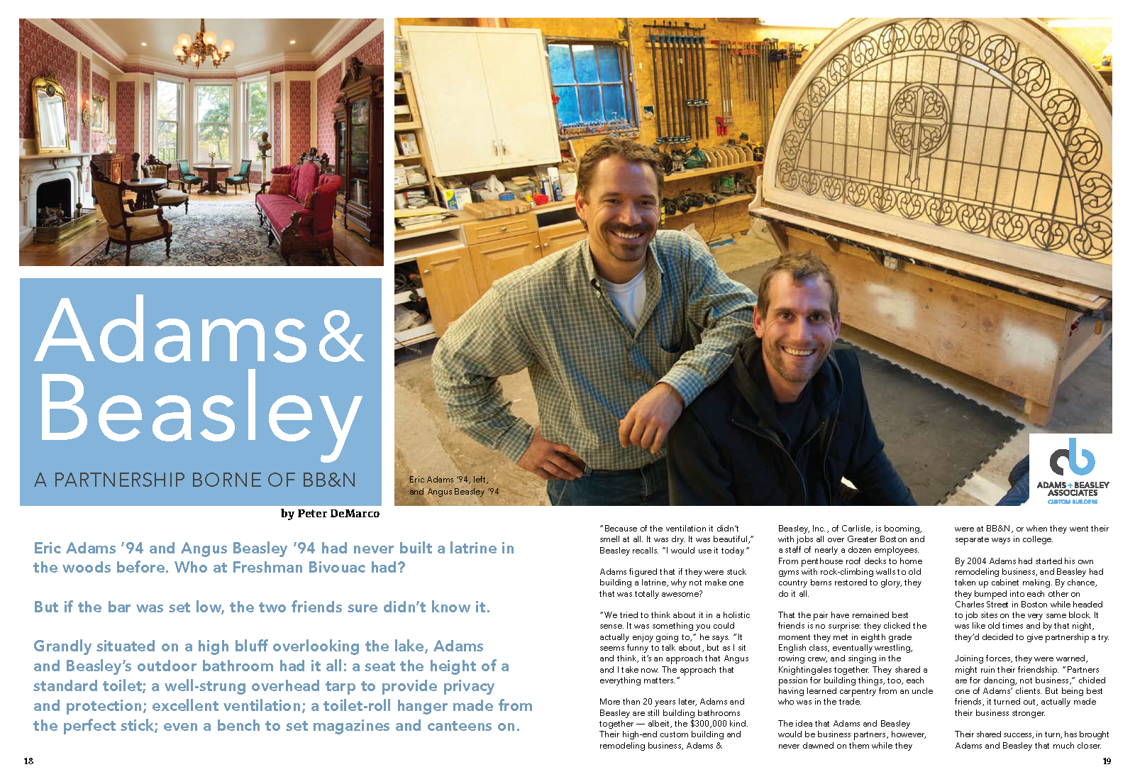 Eric and Angus featured in the Buckingham Browne & Nichols Bulletin