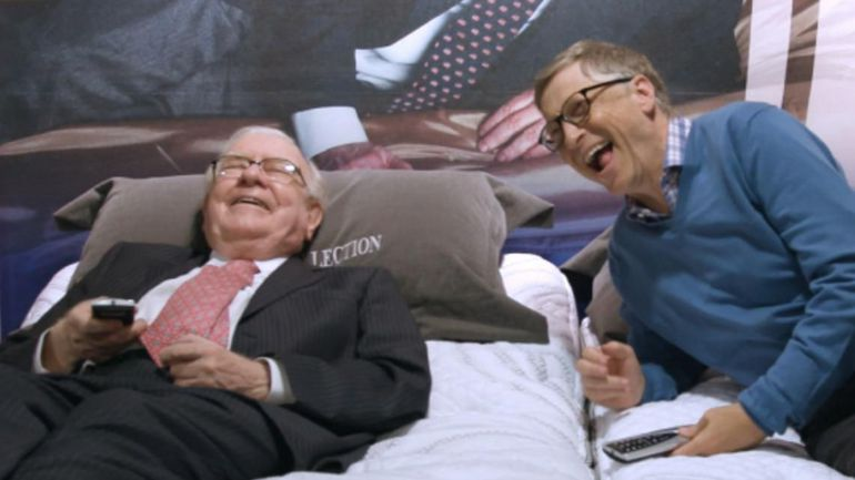 Two BFFs mattress shopping. In 2010 Warren Buffett and Bill Gates launched The Giving Pledge, committing to giving away the bulk of their fortunes.