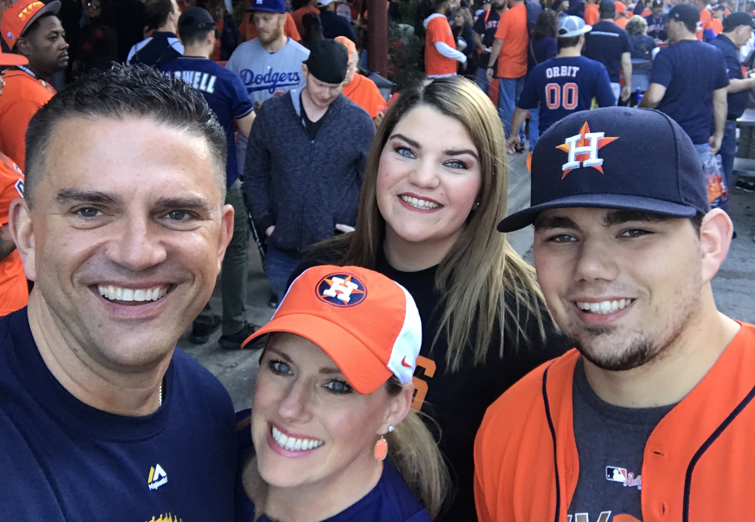 Enjoying the pre-game festivities with my sister Paje', my nephew Tanner, and my niece Madison. Our smiles would be even bigger at 12:38 a.m. central time on October 30, 2017!