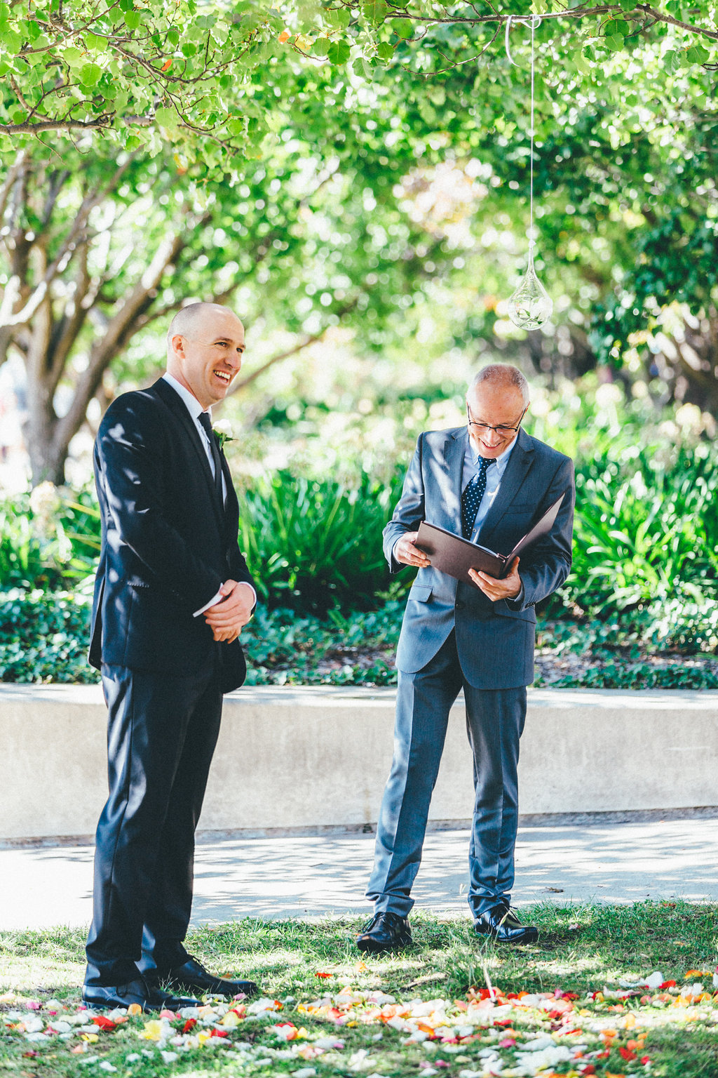 Groom with Steven Murray waiting for the bride - Canberra Small Weddings