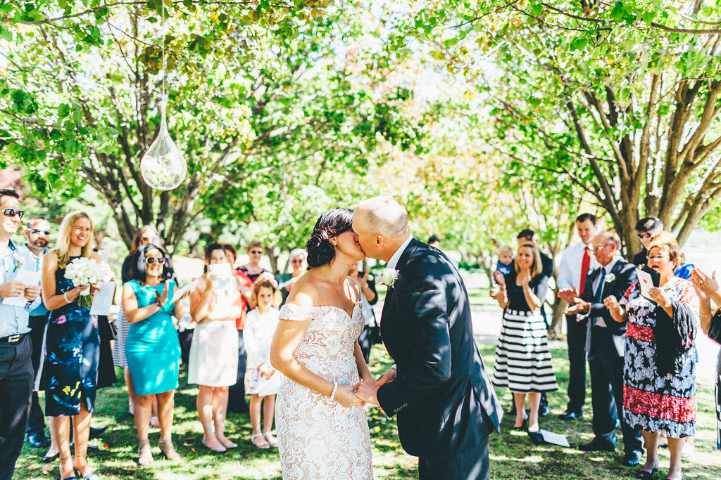 First Kiss - Intimate Wedding Ceremony Canberra