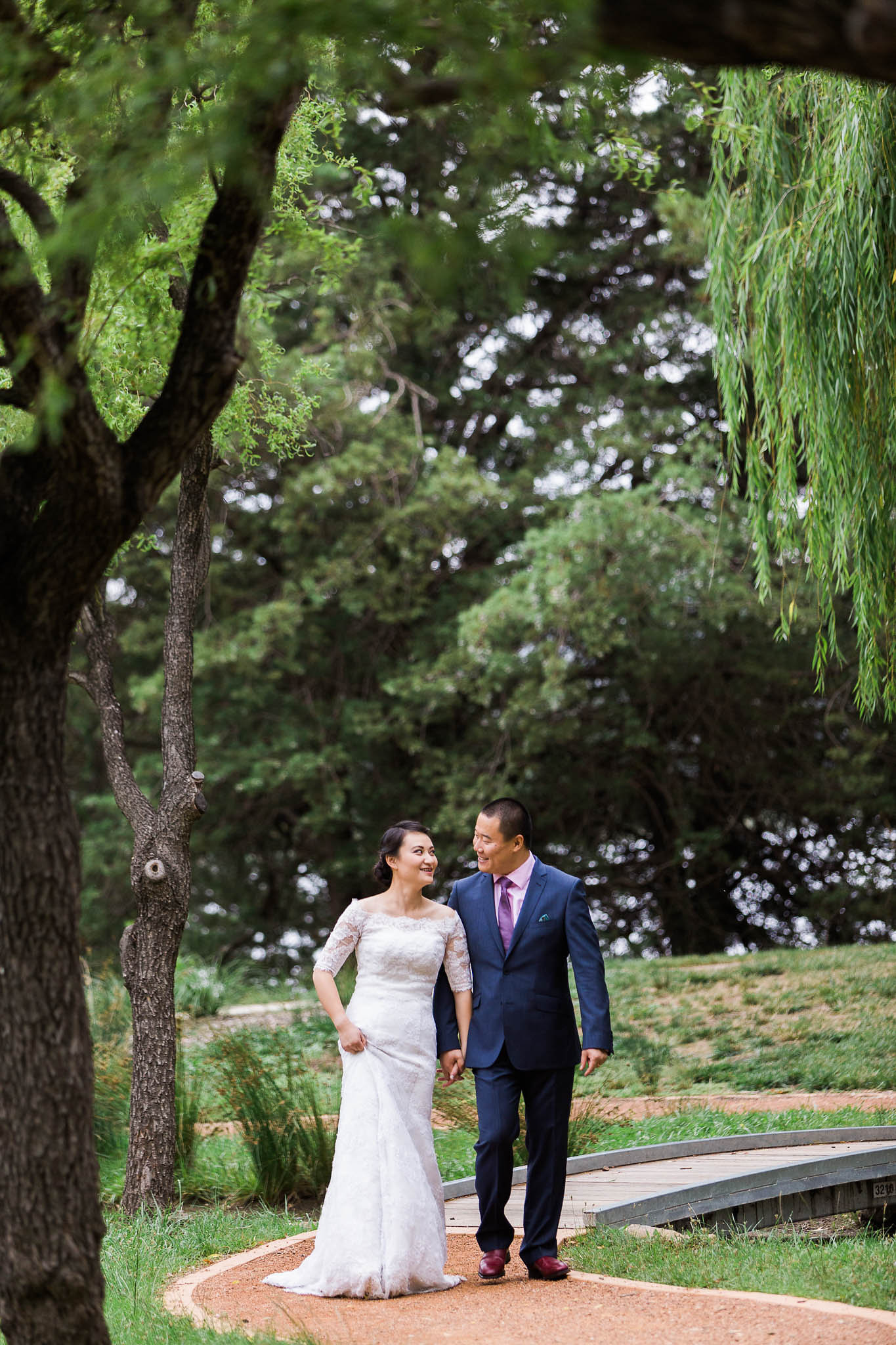 Bride and Groom Walking - Canberra Small Weddings - Western Park