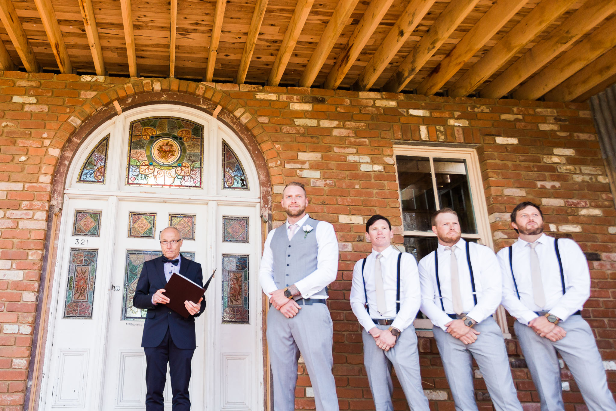 Groom waiting for his bride - Gold Creek Station wedding photography