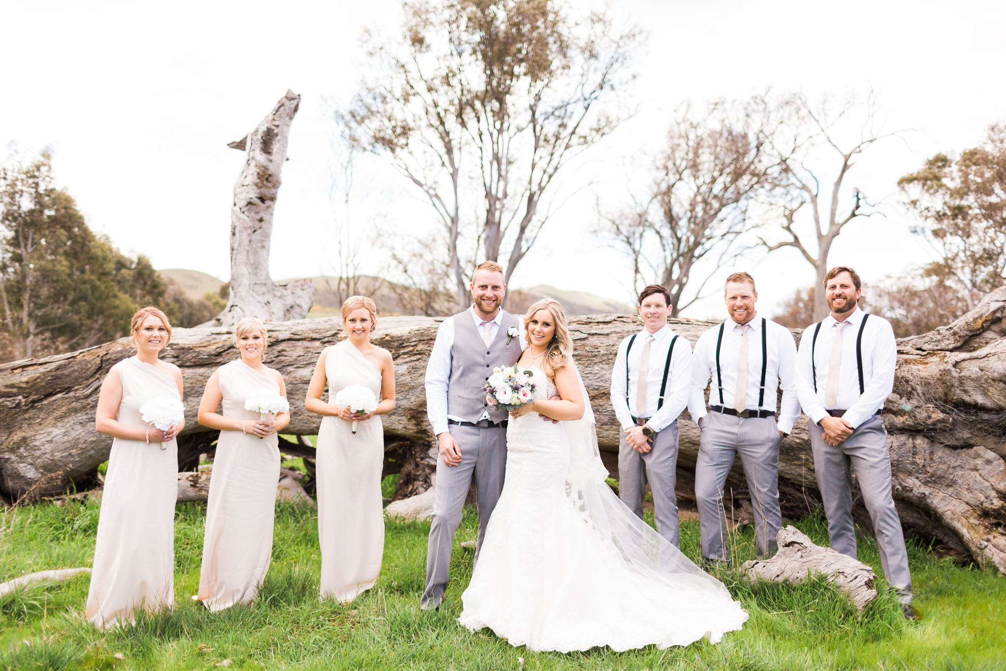 Bridal Party in front of fallen tree at Gold Creek Station - Canberra Small Weddings