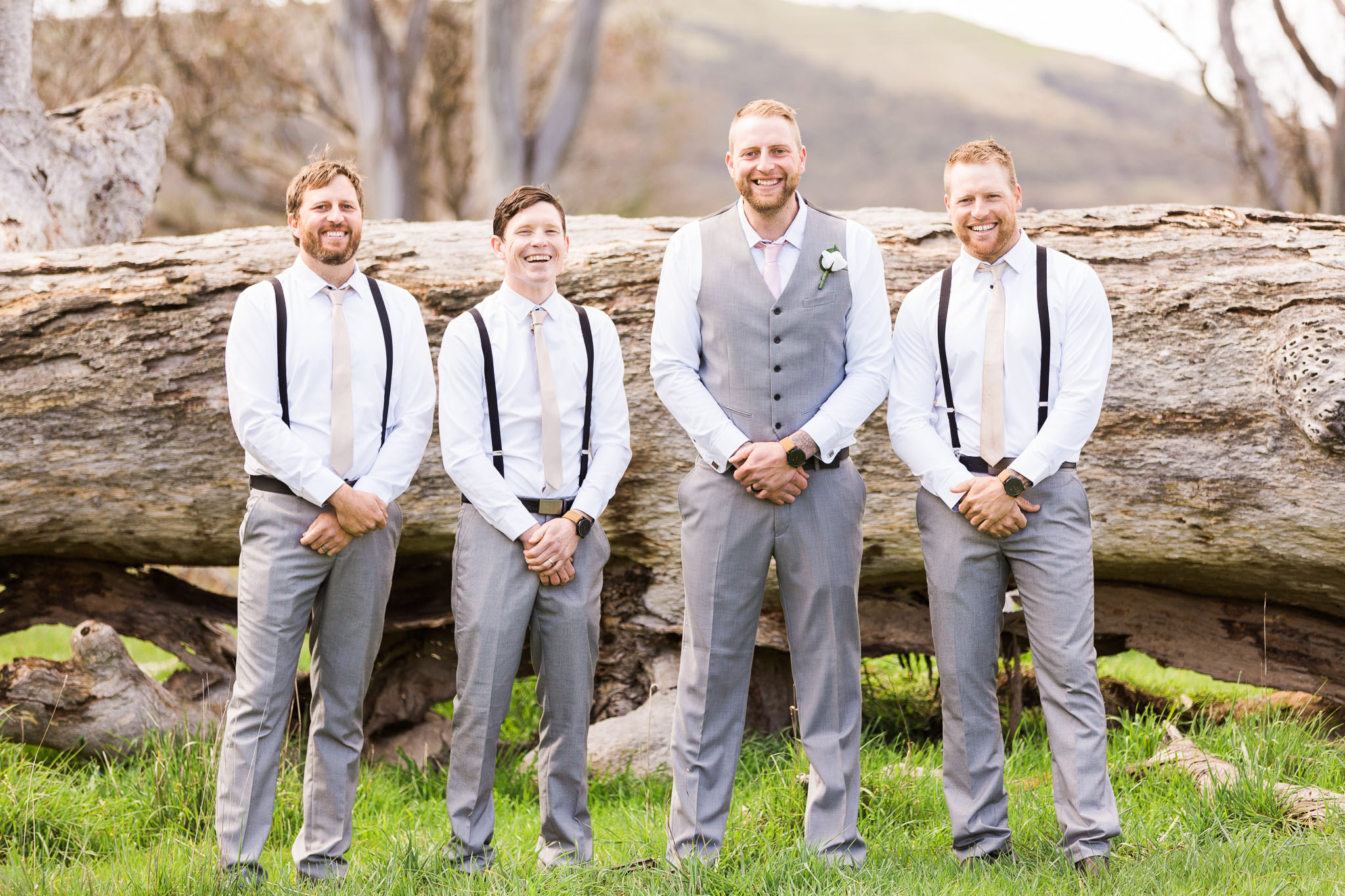 Groom standing with his Groomsmen - Gold Creek Station Wedding Photography