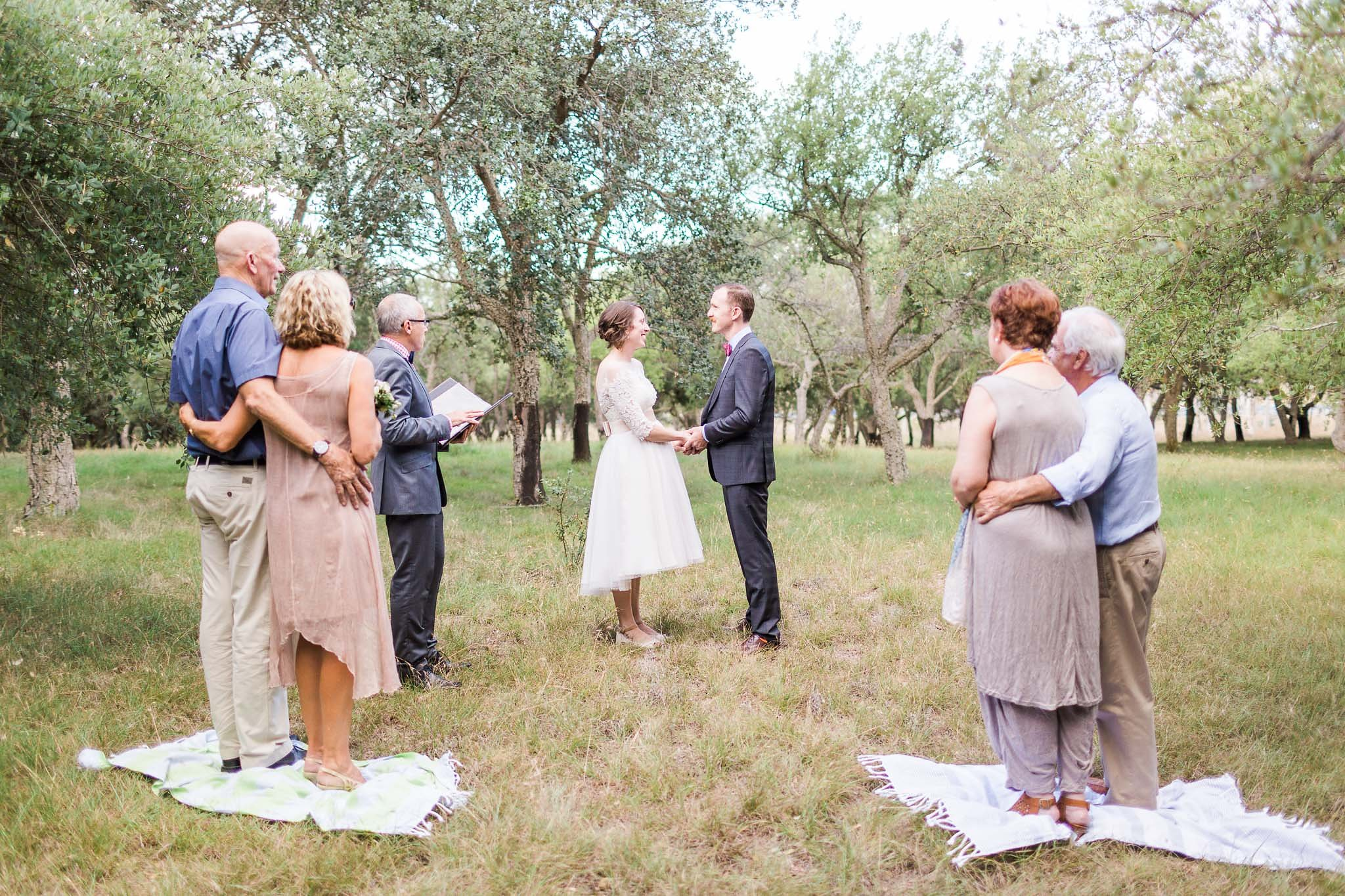 Intimate wedding ceremony - Cork Forest, Canberra.