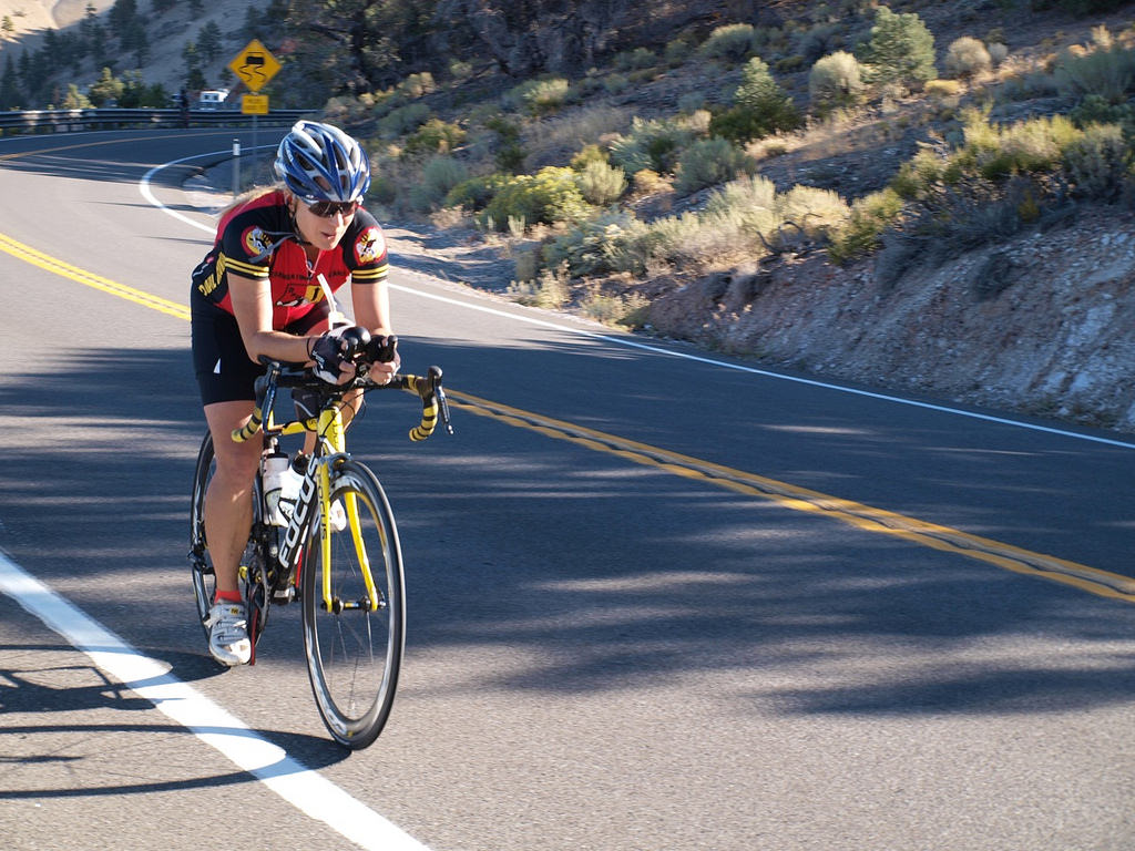 I am the third rider to pass the lookout on Geiger Grade and the fourth to ride over the summit. Photo by: Chris Kostman.