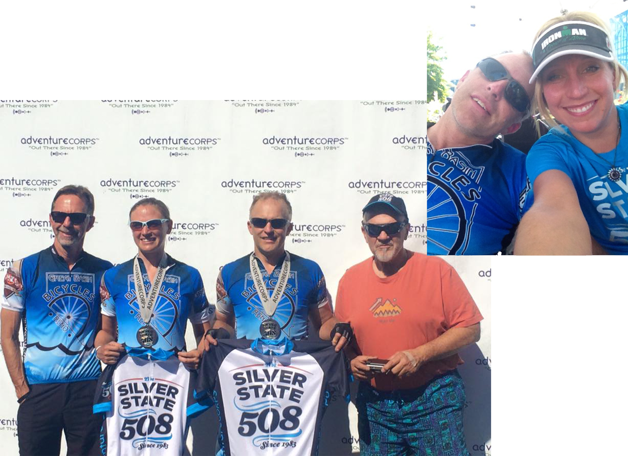 Team Great Basin Ichthyosaur claims second in the 2-mixed division: crew member Fritz, Jami, Rich and crew Doyle. Top right: Rich and I after a long, hard ride. :-)