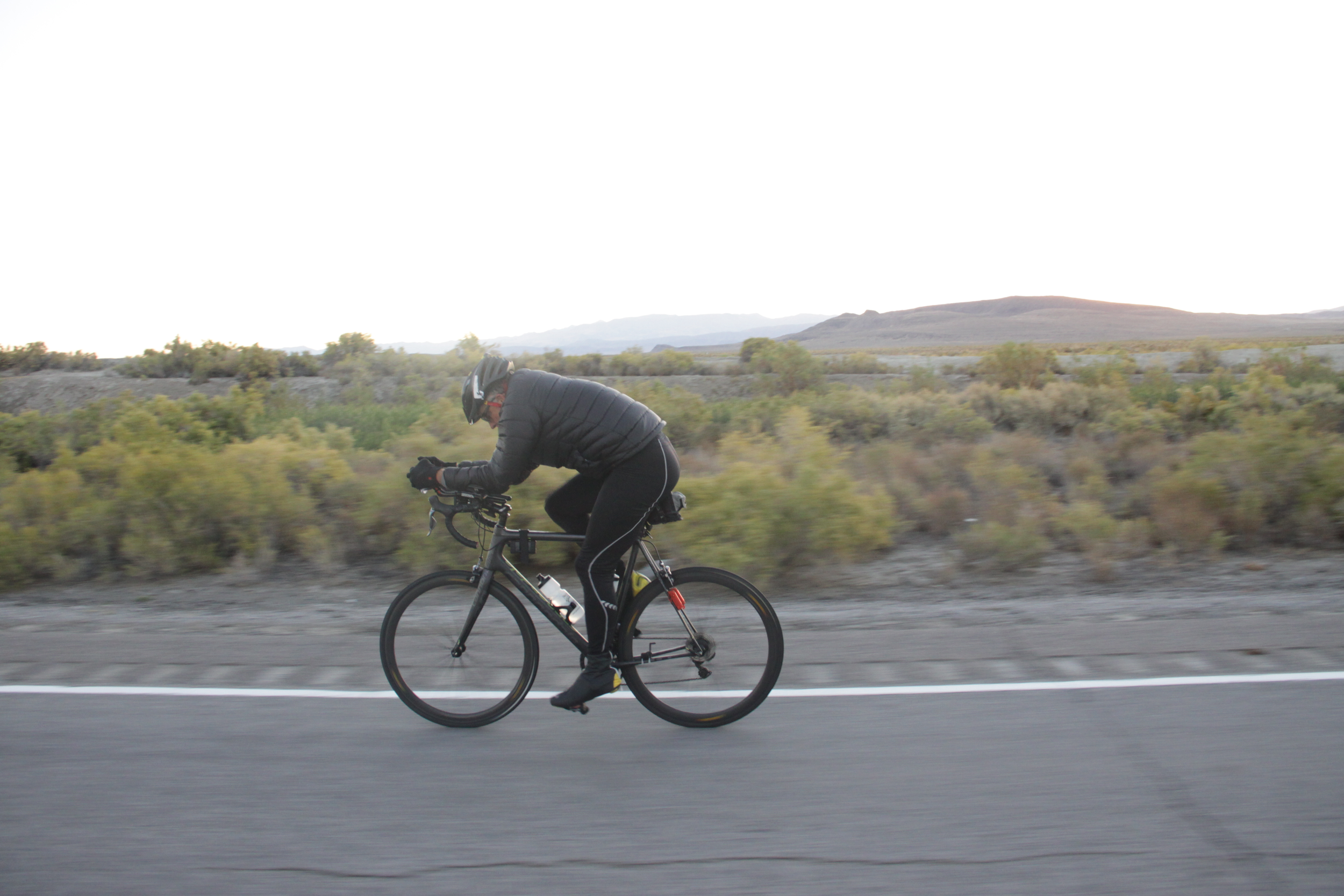Rich Staley, riding at dawn into Fallon near the end of stage 6.