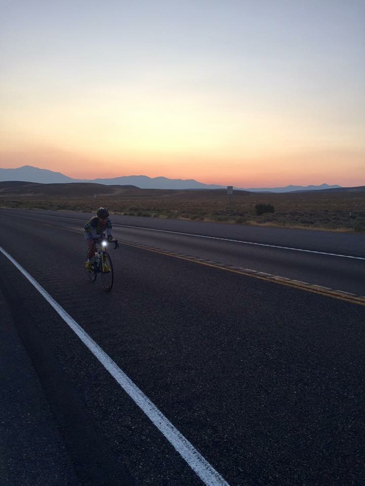 Riding into (or away) from the dusky, desert light. I put my head down and pushed as hard as I could, not stopping until my boyfriend made me crash because my lights went out and someone almost ran me over. I think I was second fastest on this stage out of every body.